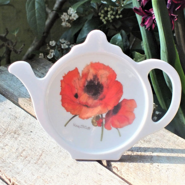 white teabag tidy with painted poppies