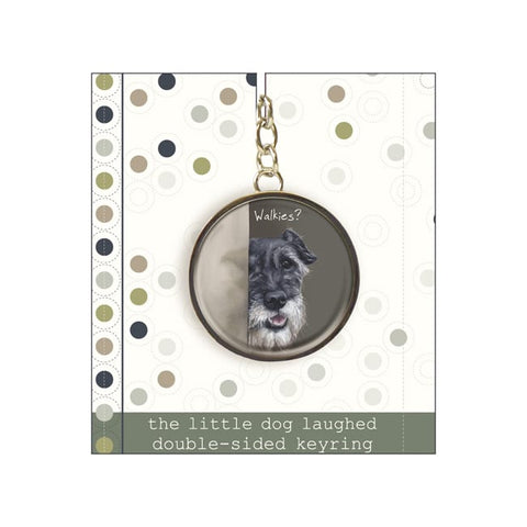 key ring on backing cardboard - features schnauzer cross dog and the caption 'Walkies'