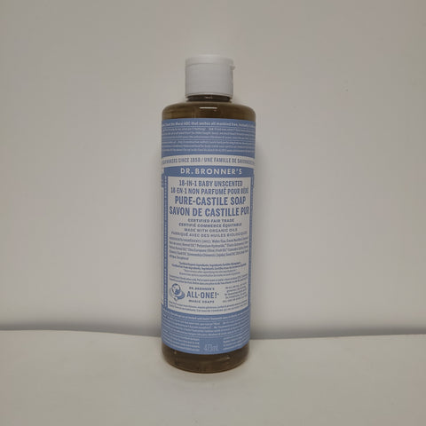 Dr. Bronner's 18 in 1 Unscented Baby Soap.