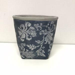 "5"" Blue Cement Pot"