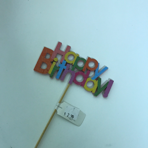 Happy Birthday on a Wooden Pick