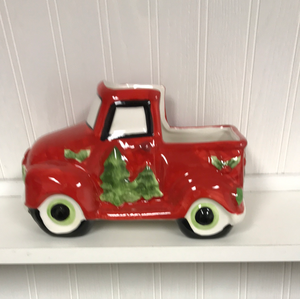 Red Ceramic Christmas Truck