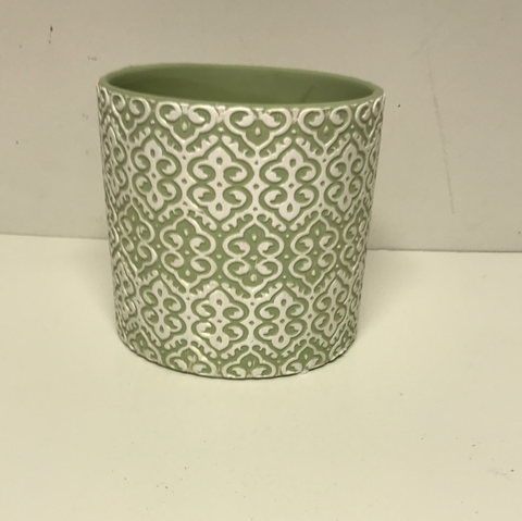 "5"" Green Lace Design Clay Pot"