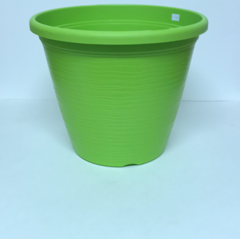 "12"" Dia x 9 1/2"" H Lime Green Plastic Pot"