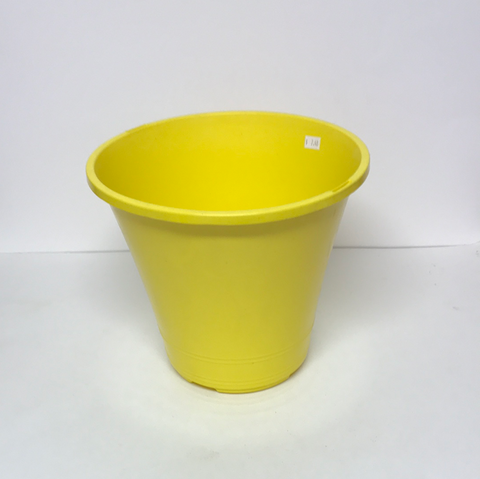 "10"" Dia x 9"" H Plastic Yellow Pot"