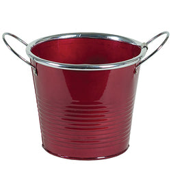"4"" Red Metal Plant Pot"