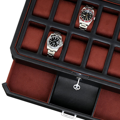 Rothwell 12 Slot Watch Box With Valet Drawer (Black / Red)