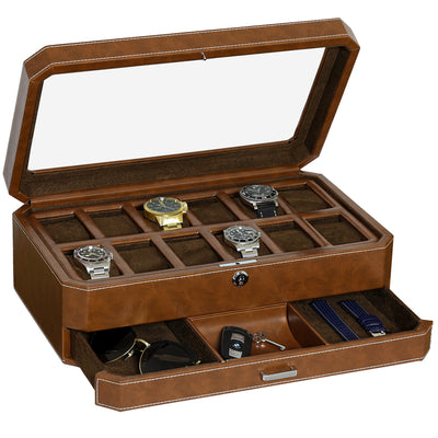 Rothwell 12 Slot Watch Box With Valet Drawer (Tan / Brown)