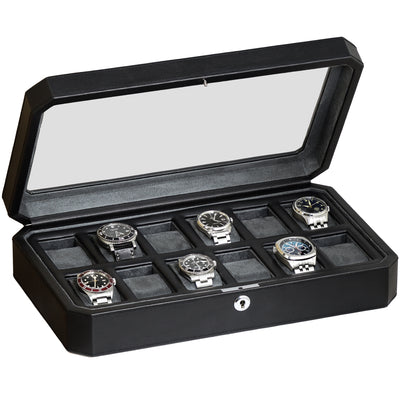Rothwell 12 Slot Watch Box (Black / Grey)