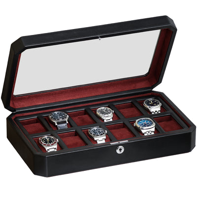 Rothwell 12 Slot Watch Box (Black / Red)