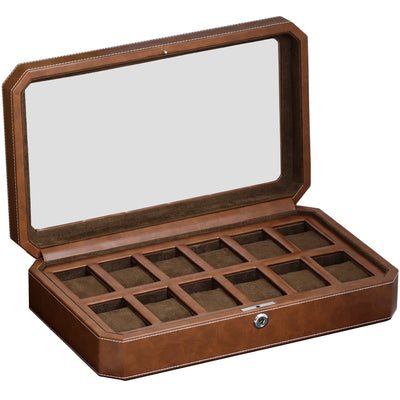 Rothwell 12 Slot Watch Box (Tan / Brown)