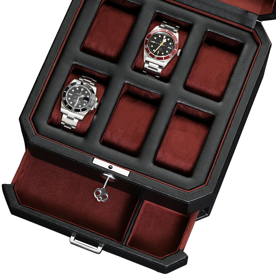 Rothwell 6 Slot Watch Box With Valet Drawer (Black / Red)