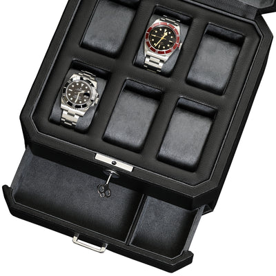 Rothwell 6 Slot Watch Box With Valet Drawer (Black / Grey)