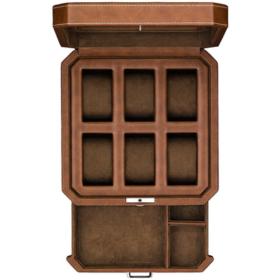 Rothwell 6 Slot Watch Box With Valet Drawer (Tan / Brown)
