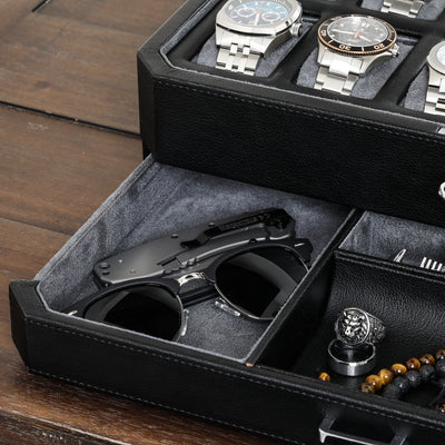 Rothwell 12 Slot Watch Box With Valet Drawer (Black / Grey)