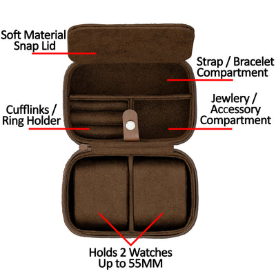 Rothwell 2 Watch Travel Case (Tan / Brown)