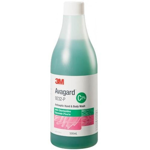 Avagard Antiseptic Hand & Body Wash with Chlorhex 2% 500ml - each 3M