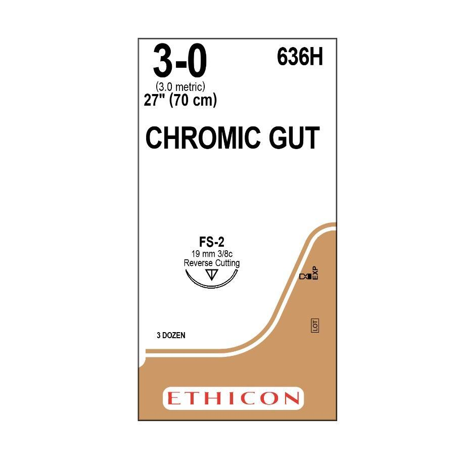 Chromic Gut Suture 3/0 FS-2 70cm - Box (36) ETHICON