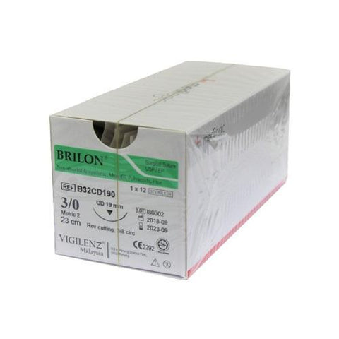 Vigilenz Brilon 3-0 19mm  Primecut RC Black 75cm Sutures - Box (12) VIGILENZ