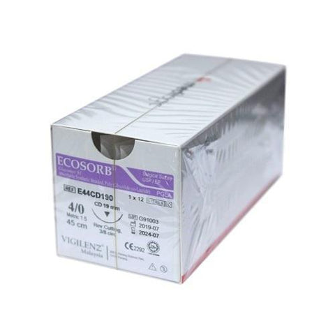 Vigilenz Ecosorb 3/0 24mm CD 75cm Violet Sutures - Box (12) VIGILENZ