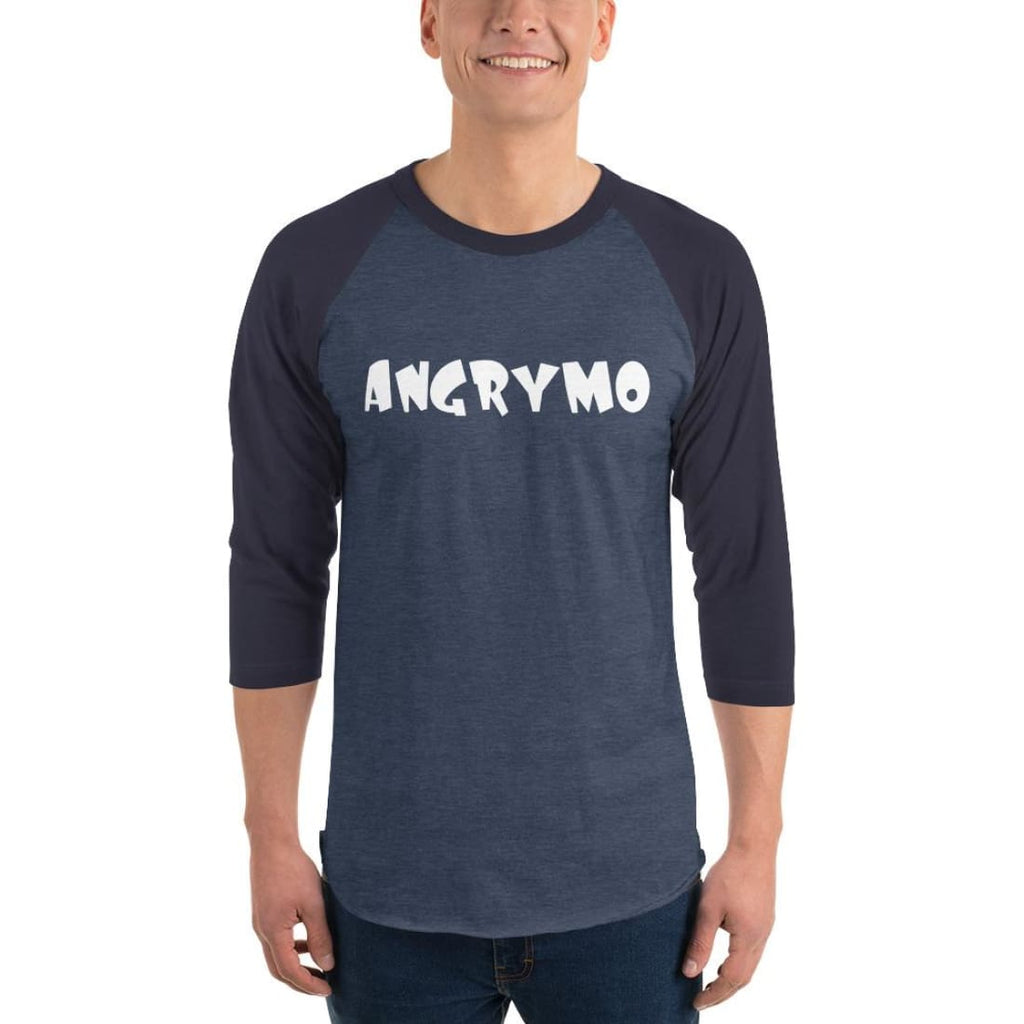 Angrymo 3/4 Sleeve Raglan Shirt - Heather Denim/navy / Xs
