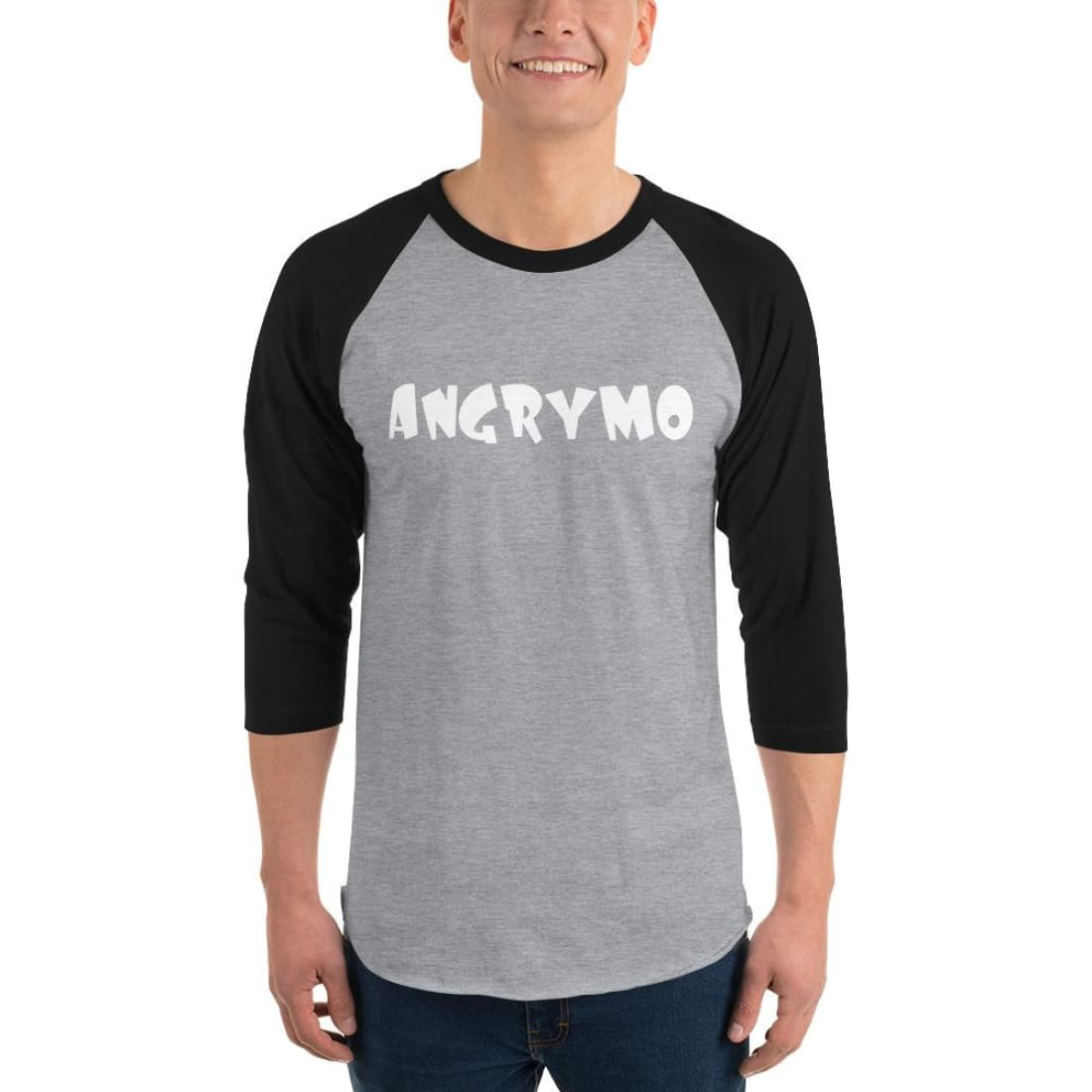 Angrymo 3/4 Sleeve Raglan Shirt - Heather Grey/black / Xs