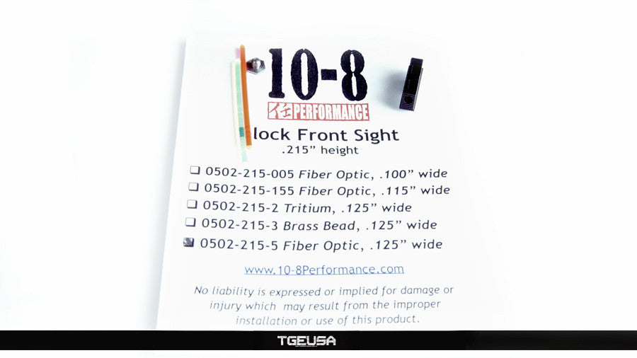 10-8 Performance Glock Front Sight - Fiber Optic  (.215 Height / .125 Wide)