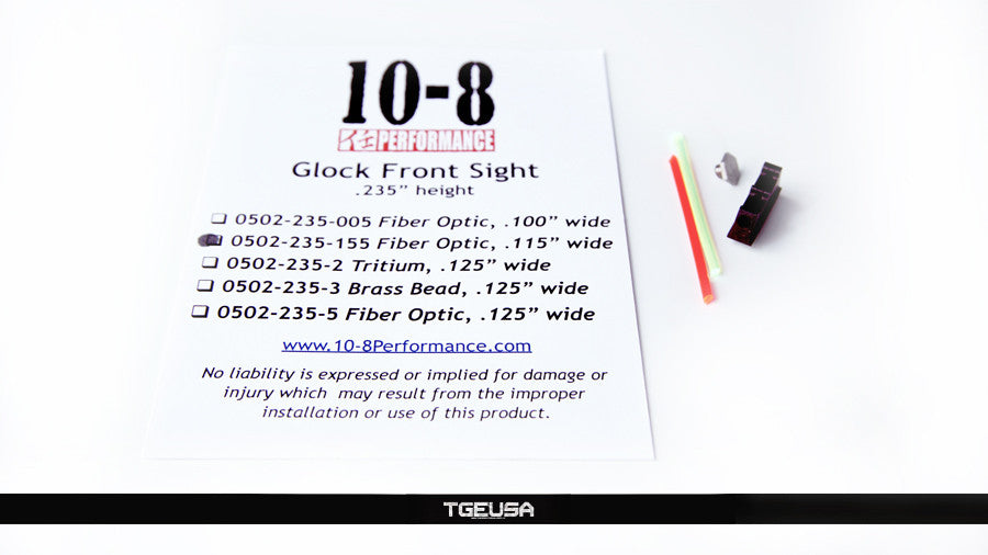 10-8 Performance Glock Front Sight - Fiber Optic  (.235 Height / .115 Wide)