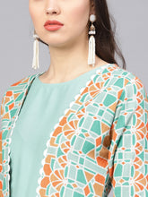 Load image into Gallery viewer, Yufta Women Sea Green & Orange Solid Layered Kurta with Palazzos