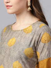 Load image into Gallery viewer, Yufta Women Grey & Mustard Brown Printed Kurta with Palazzos