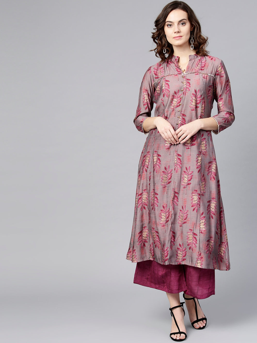 Yufta Women Pink Printed Kurta with Palazzos
