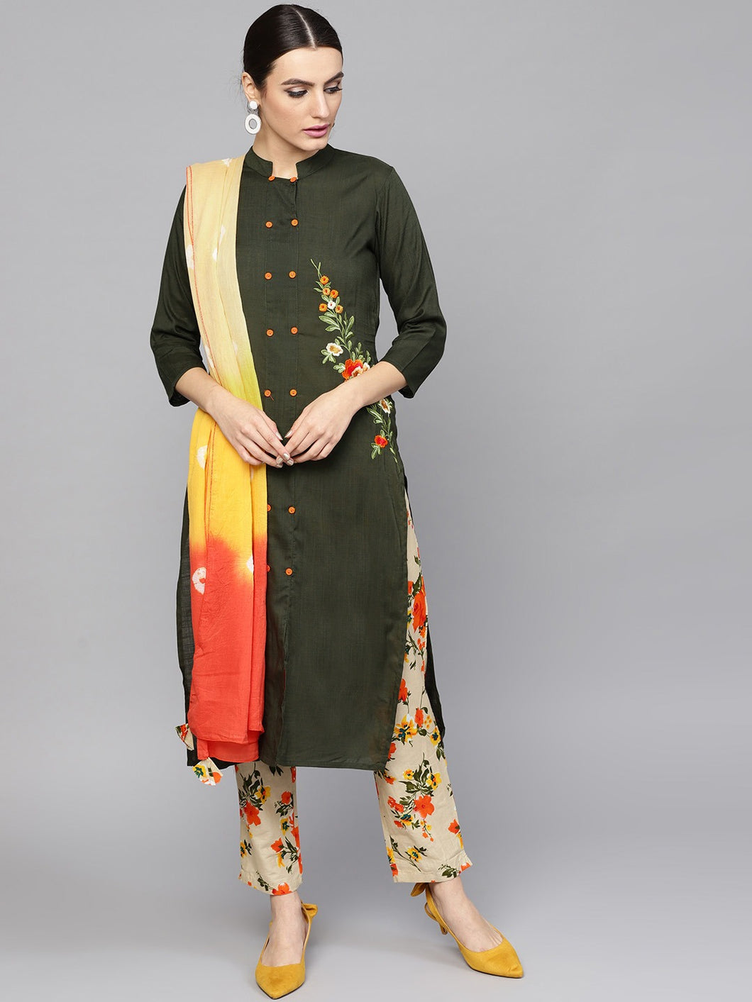 Embroidered Kurta with printed pants and tie dye Dupatta