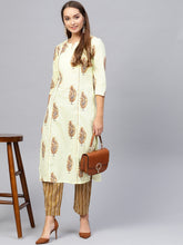 Load image into Gallery viewer, Yufta Women Yellow & Brown Printed Kurta with Palazzos