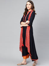 Load image into Gallery viewer, Yufta Women Navy Blue & Red Printed Layered A-Line Kurta-S-Navy Blue