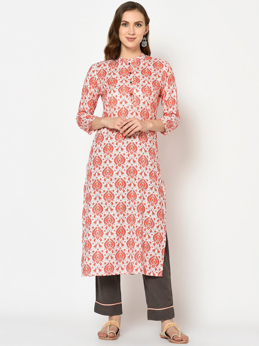 Yufta Women Red & Beige Printed Straight Kurta