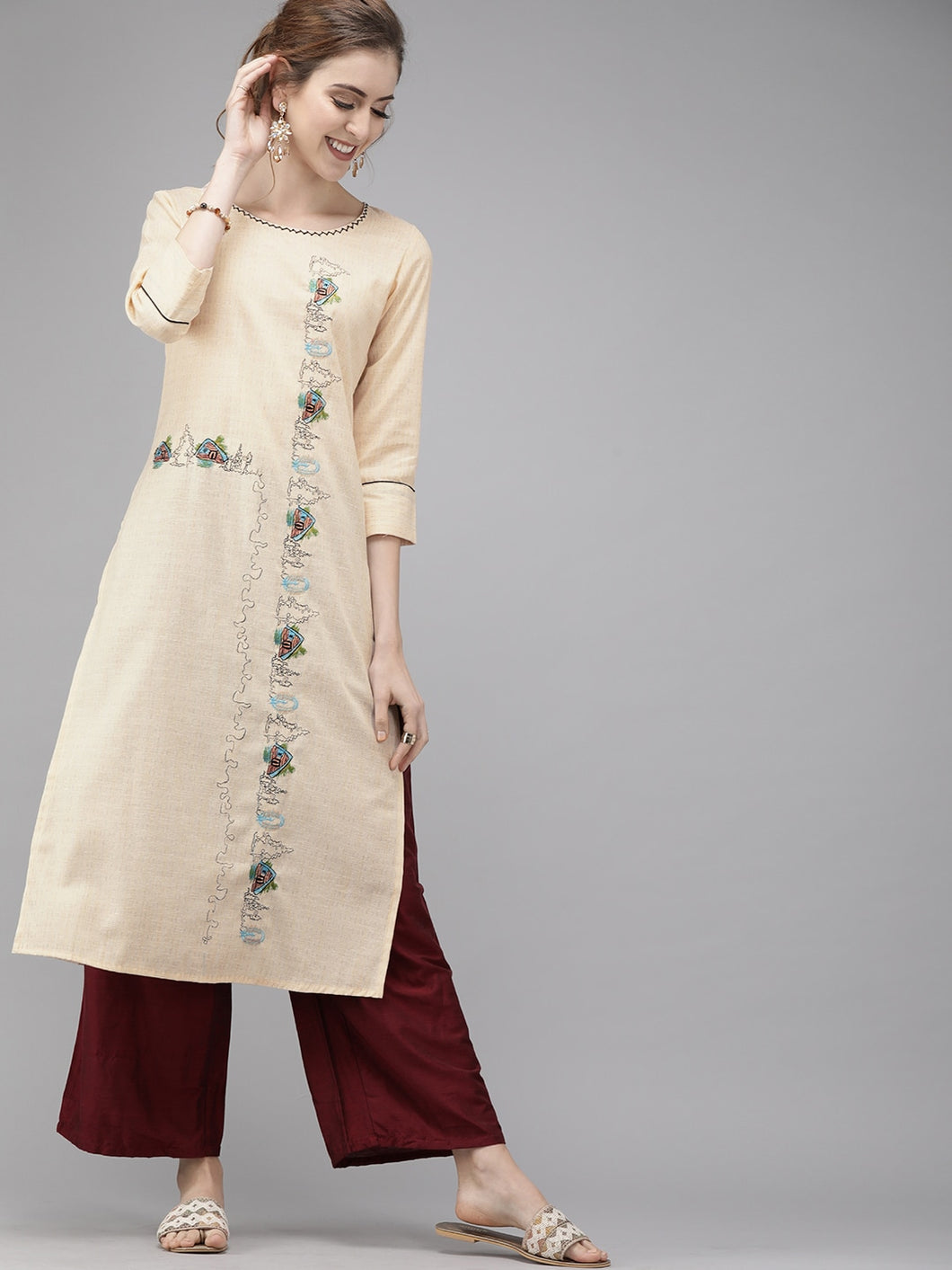 Yufta Women Peach-Coloured Embroidered Straight Kurta