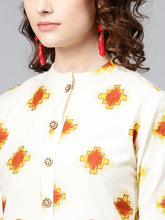 Load image into Gallery viewer, Yufta Women Off-White & Brown Printed Straight Kurta