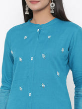 Load image into Gallery viewer, Embroidered Cotton flex kurta with hand block palazzo