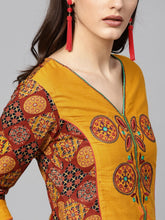 Load image into Gallery viewer, Yufta Women Mustard Yellow & Rust Brown Printed Straight Kurta