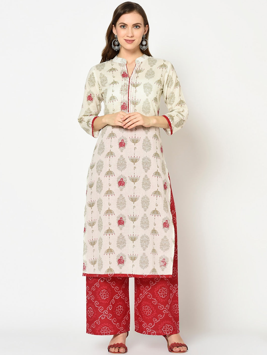 Women Off-White & Green Printed Kurta with Red Printed Palazzos