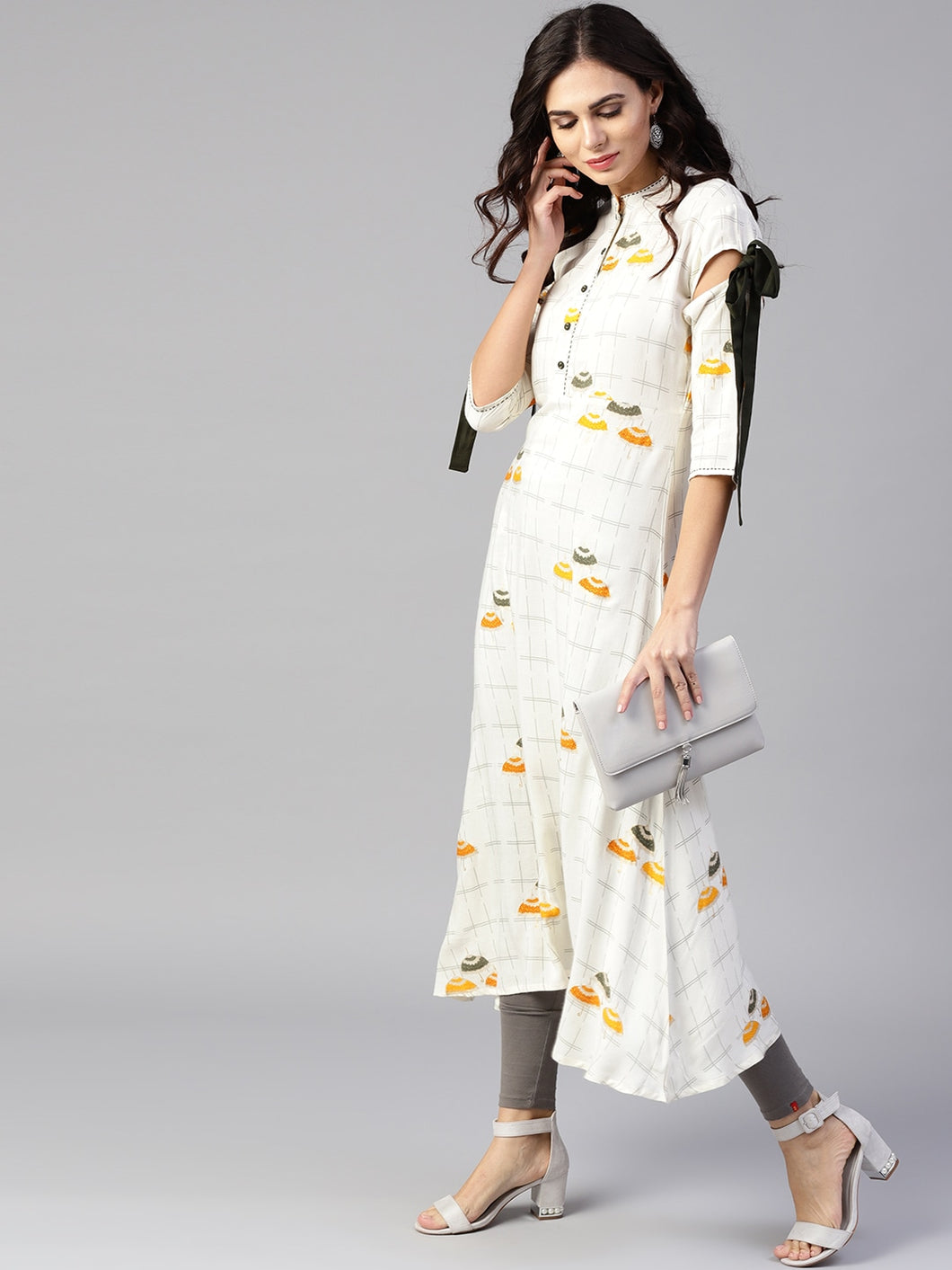 Yufta Women Off-White & Mustard Yellow Quirky Print A-Line Asymmetric Kurta