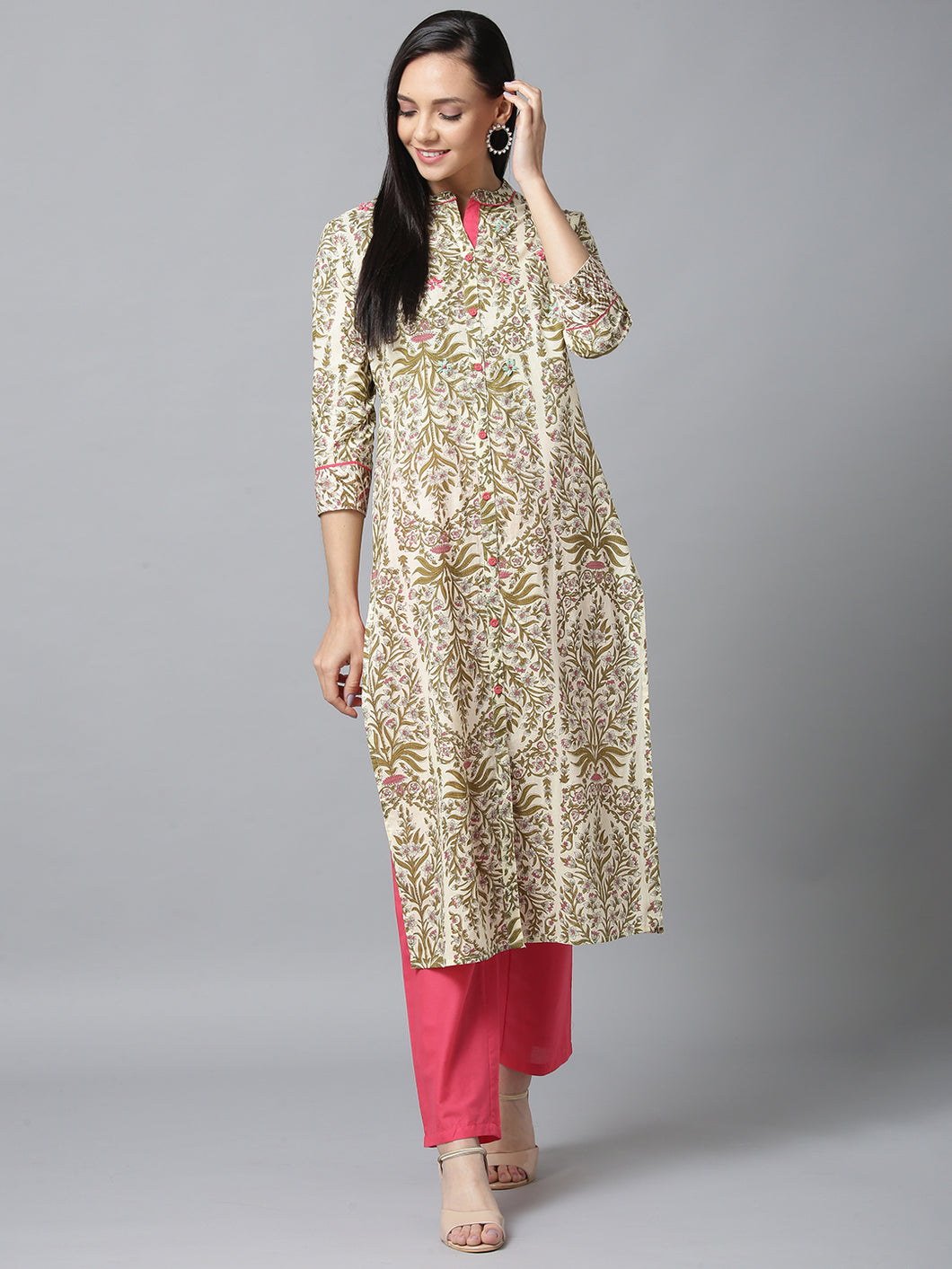 Yufta Women Multi Color Handblock Printed Kurta with Solid Pink Trousers