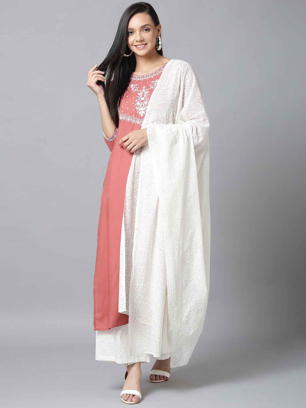 Yufta Women Pink and White Embroidered Kurta with Palazzo and Dupatta