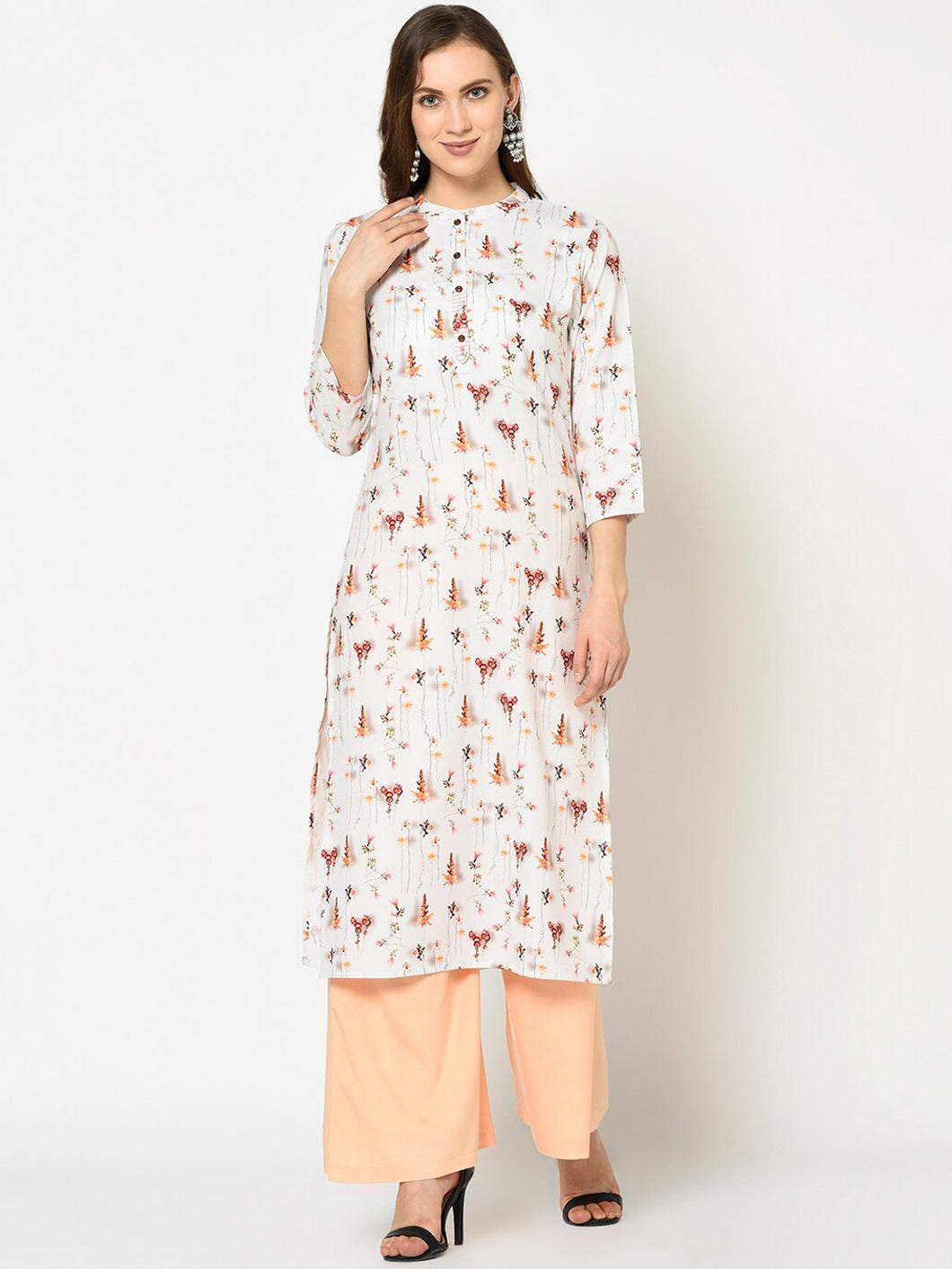 Women White & Orange Printed Straight Kurta