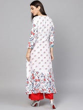 Load image into Gallery viewer, Yufta Women White & Red Printed A-Line Kurta