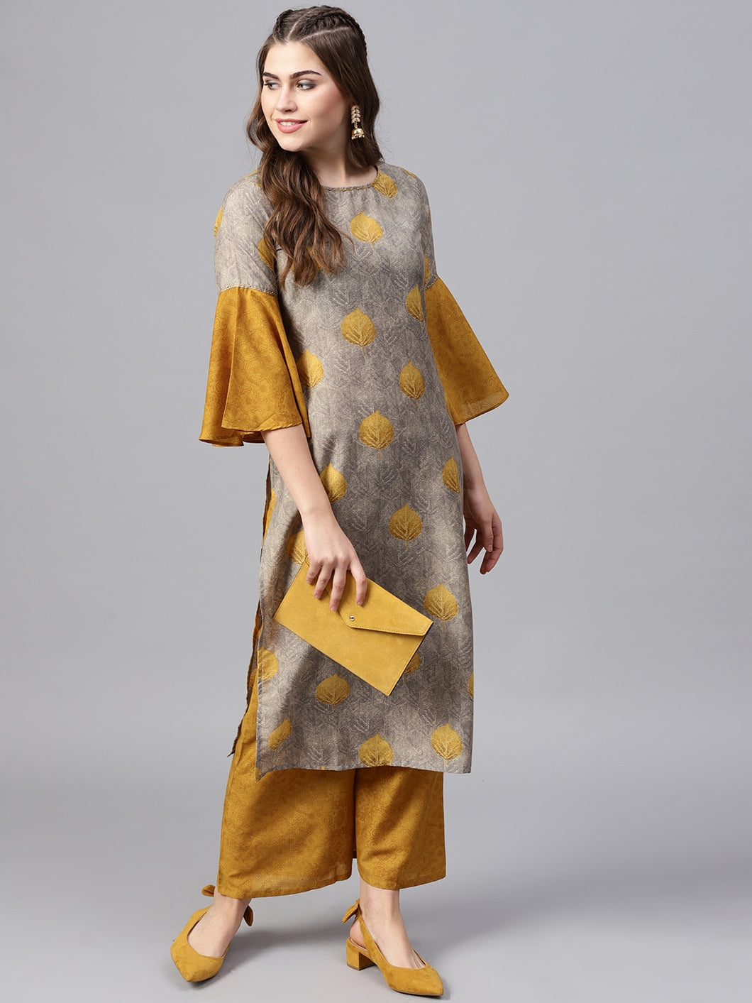 Yufta Women Grey & Mustard Brown Printed Kurta with Palazzos