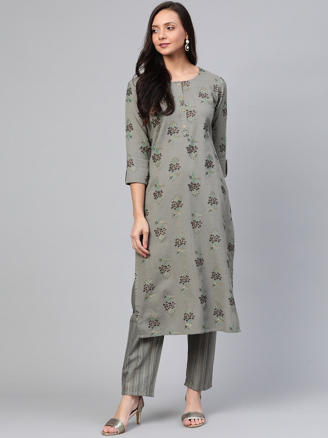 Yufta Women Grey & Black Printed Kurta with Palazzos
