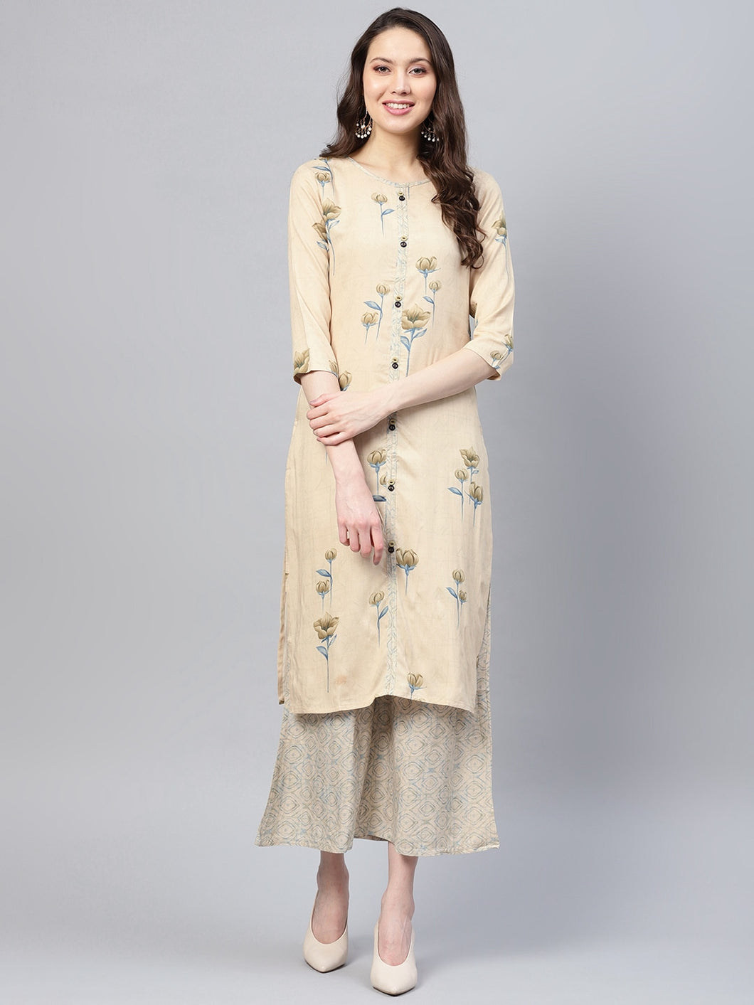 Yufta Women Beige & Blue Printed Kurta with Palazzos-S-Beige