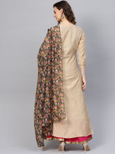 Load image into Gallery viewer, Yufta Women Beige Self-Striped A-Line Kurta With Dupatta