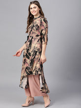 Load image into Gallery viewer, Yufta Women Beige & Black Printed A-Line Kurta